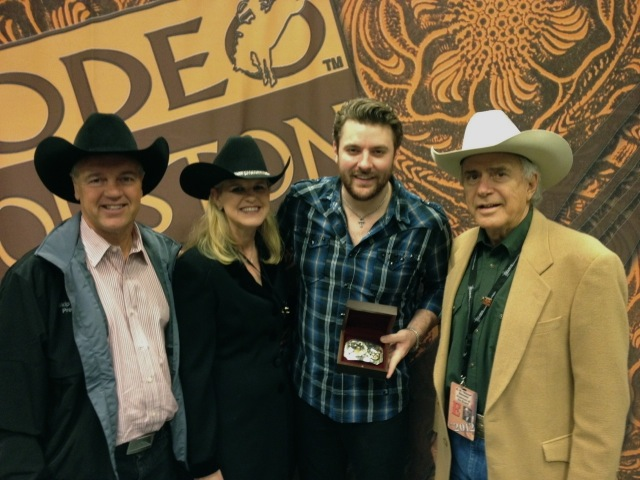 Photo (L to R): Skip Wagner (President & CEO of the Houston Livestock Show and Rodeo), Cindy Wagner  ( Skip's wife), Chris Young, Steve Stevens (Chairman of the Houston Livestock Show and Rodeo)