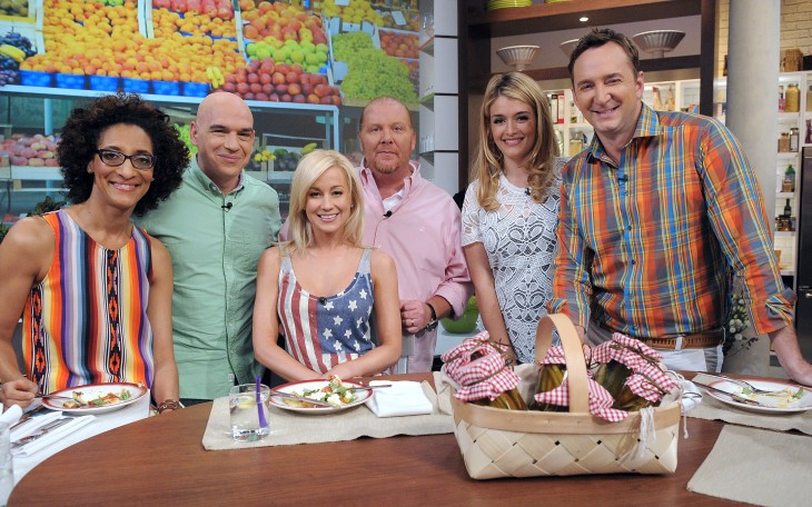 From left to right: Carla Hall, Michael Symon, Kellie Pickler, Mario Batali, Daphne Oz and Clinton Kelly