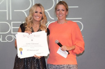 BMI's Associate Director of Writer/Publisher Relations Leslie Roberts with Carrie Underwood. (photo credit: Chris Hollo)